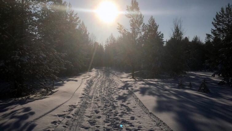 Яркое солнце над снегоходкой